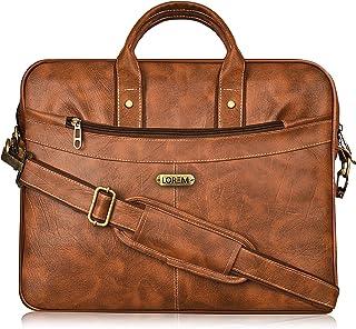 LOREM Tan Color Briefcase Laptop Bag Cross Body Office Business Professional Bag for Men & Women BG14 (Tan)