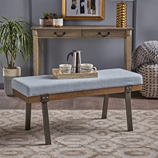 Christopher Knight Home Azore Modern Light Sky Fabric Bench with Black Iron Legs