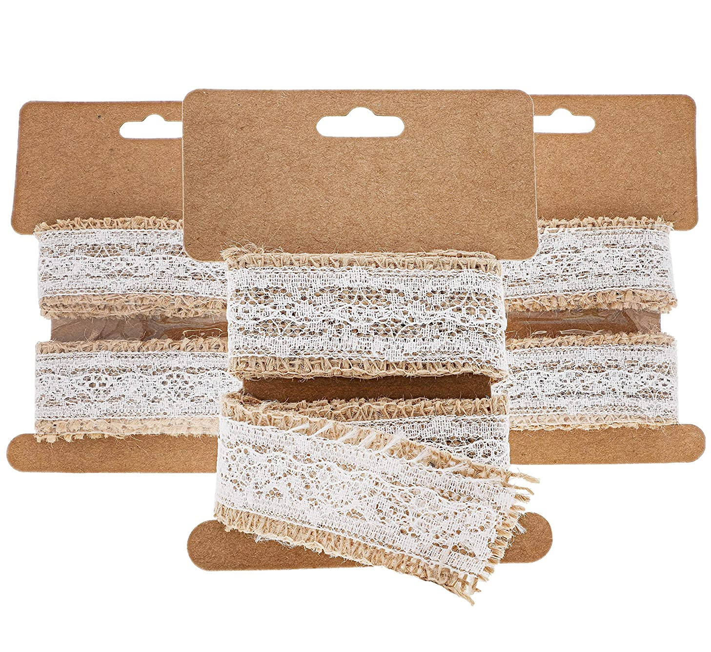 Genie Crafts 12 Rolls Natural Burlap Lace Fabric 1 Inch Wide Ribbon for DIY Crafts, 1 Yard Long