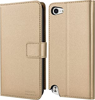 HOOMIL Compatible with iPod Touch 7 Case, iPod Touch 6 Case, iPod Touch 5 Case, Premium Leather Flip Wallet Case for Apple iPod Touch 5th 6th 7th Generation Cover (Gold)