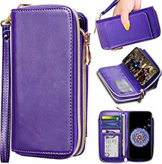 OnePlus 6T Wallet Case, ELV [PU Leather] Premium Detachable 2in1 Folio Purse Credit Card Flip Case with Card Slots and Stand for OnePlus 6T (Purple)