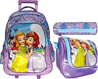 Sofia School Trolley with Backpack For Kids Girl Include Lunch Bag And Pencil Pouch (16, PURPLE)