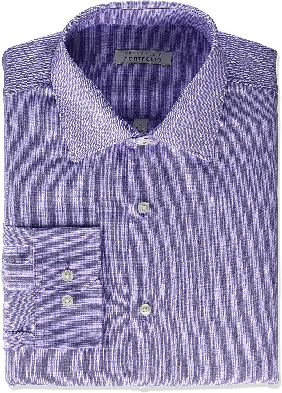 Perry Ellis Men's Modern Fit Spread Collar Dress Shirt