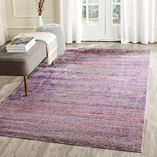Safavieh Valencia Collection VAL203N Lavender and Multi Distressed Watercolor Silky Polyester Area Rug (8' x 10')