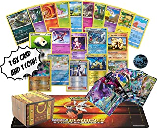 100 Pokemon Card Lot - Featuring Rares - Foils - 1 GX - 1 Collectible Coin - 1 Pokemon Playmat! Includes Golden Groundhog Treasure Chest Storage Box!