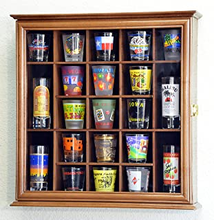 21 Shot Glass Shotglass Shooter Display Case Holder Cabinet Wall Rack 98% UV Lockable -Walnut