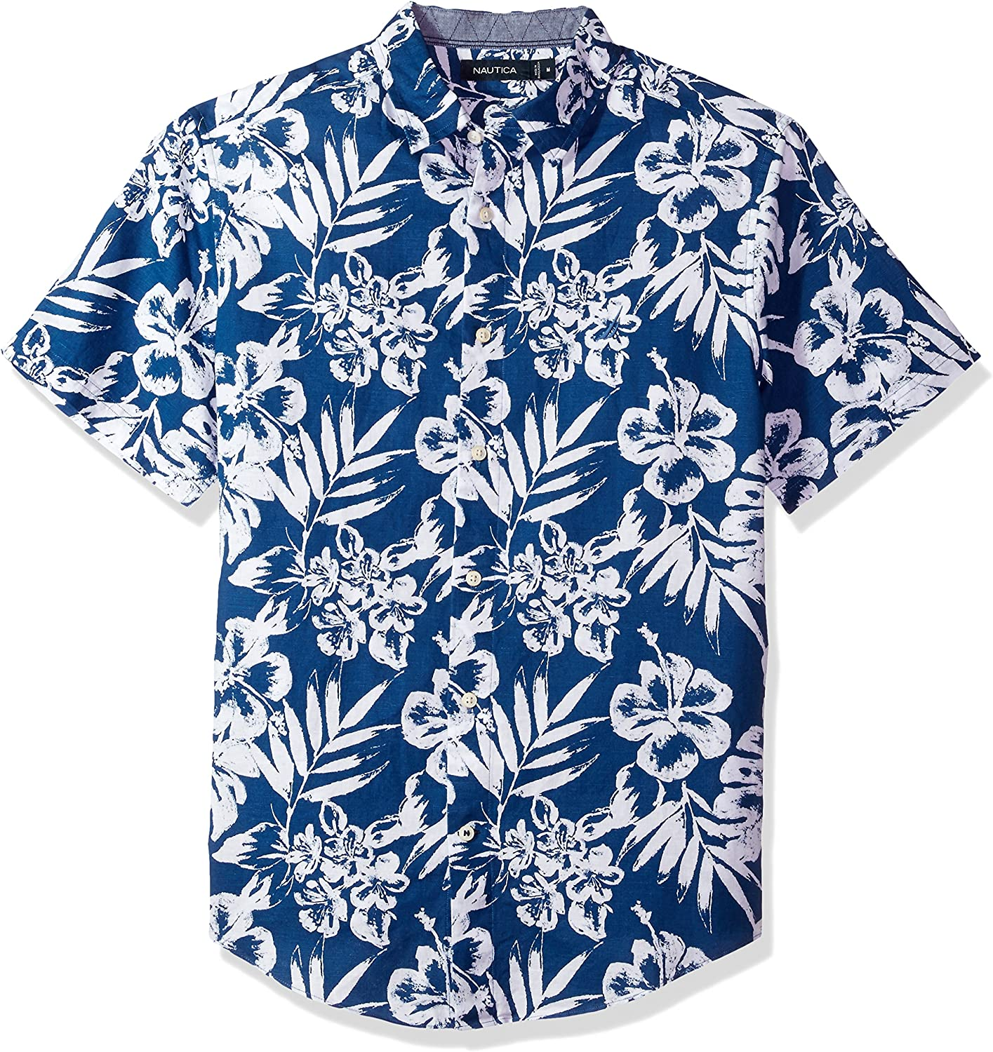 New mail order Nautica Classic We OFFer at cheap prices Fit Short Sleeve Down Floral Button Shirt Linen