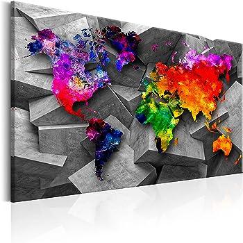 B/&D XXL murando Impression sur Toile intissee 120x80 cm 3 Pieces Tableau Tableaux Decoration Murale Photo Image Artistique Photographie Graphique Carte du Monde 020113-265