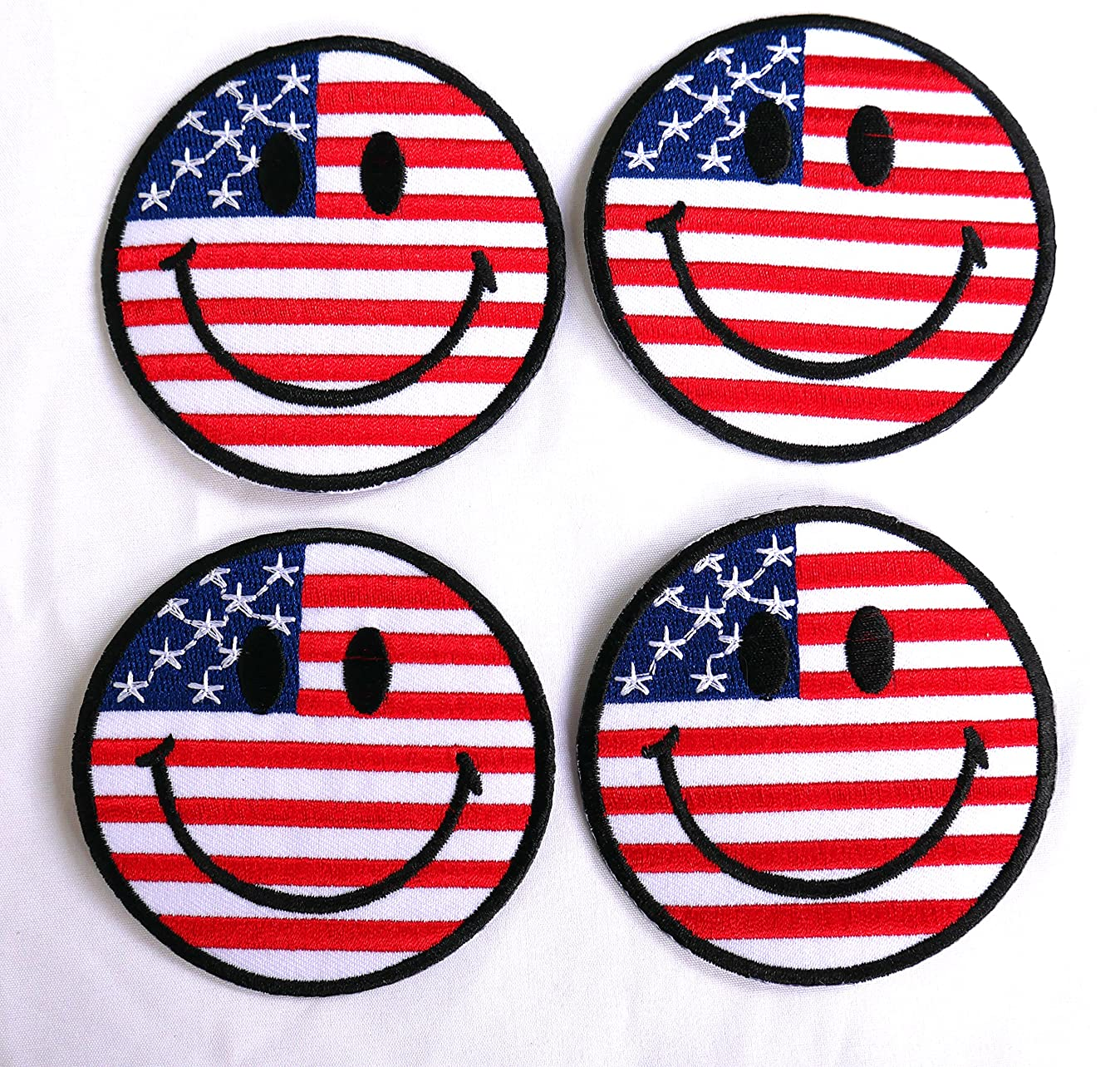 Set of 4 Smile Face UNITED STATES US USA American Flag Patch Sew Iron on Applique Embroidered Emblem Badge Patch e7206036968