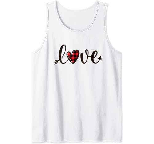Valentines Day Shirts For Women Love Plaid Heart Cute Gift Tank Top