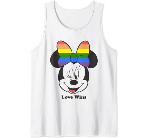 Disney Mickey And Friends Minnie Mouse Love Wins Rainbow Bow Tank Top