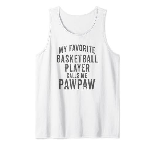 My Favorite Basketball Player Calls Me Paw Paw Vintage Design Tank Top