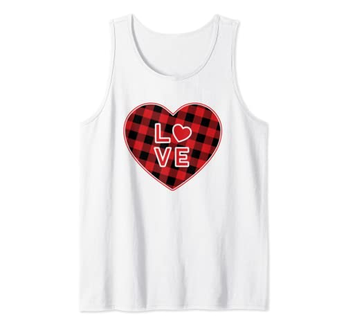 Red Plaid Love Heart Valentine's Day Tank Top