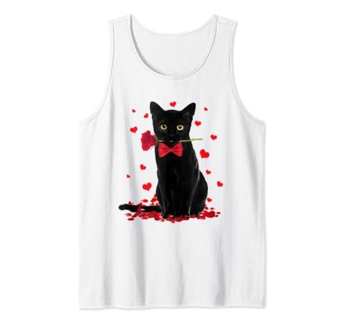 Black Cat Valentines Shirt Love Boys Girls Valentine Gift Tank Top