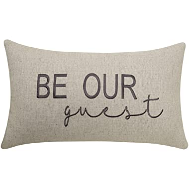 EURASIA DECOR Be Our Guest Embroidered Lumbar Accent Throw Pillow Cover - 12x20, Linen