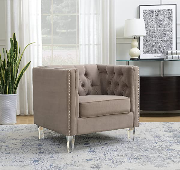 AC Pacific Ariel Collection Contemporary Polyester Velvet Fabric Upholstered Button Tufted Silver Nailhead Accented Living Room Tuxedo Arm Chair With Acrylic Legs Taupe