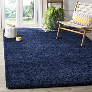 Safavieh Milan Shag Collection SG180-7070 Navy Square Area Rug (7' Square)