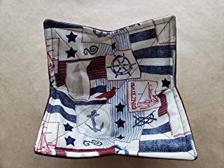 Nautical Lighthouse Ships Wheel Microwave Cozy Anchor Reversible Microwaveable Bowl Buddy Burgundy Navy Soup Holder