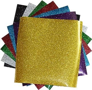 SpotDeals4u GLITTER Heat Transfer Vinyl for T Shirts garments bags and other fabrics-7 Glitter Sheets 9.8