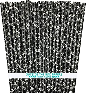 Halloween Paper Straws - Black and White Skull Pattern - 100 Pack Outside the Box Papers Brand