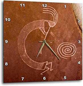 3dRose Pictographs of The Pueblo Indians, Native American - Us32 Awy0010 - Angel Wynn - Wall Clock, 15 by 15