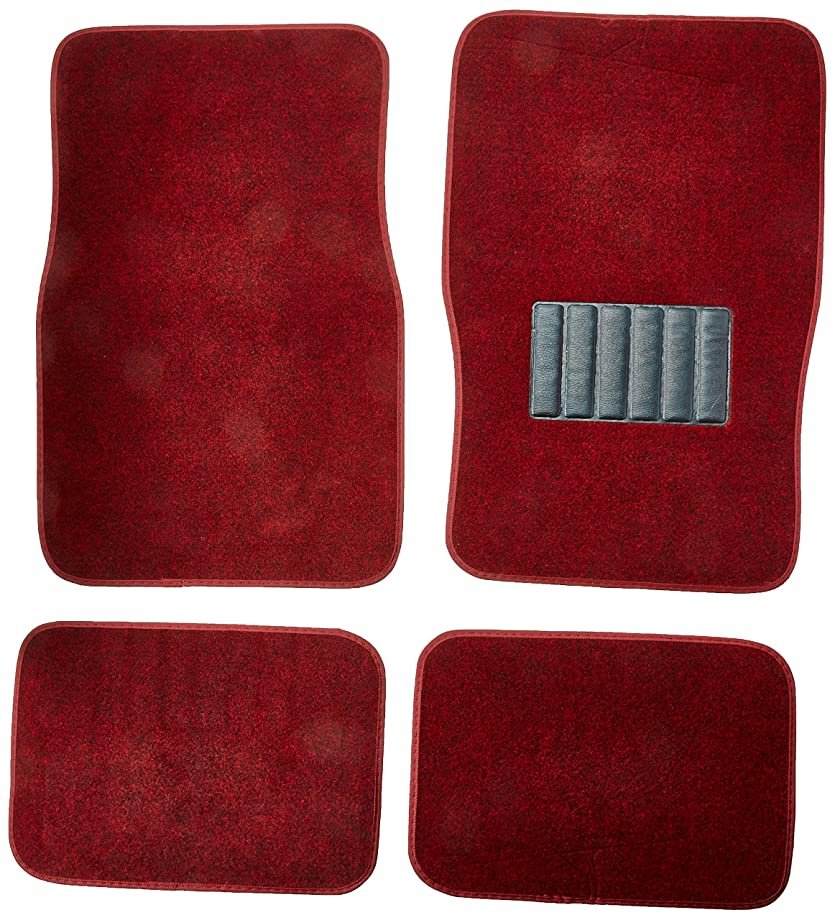 BDK MT-100-BD Classic Carpet Mats for Car SUV Van & Truck-Universal Fit Front & Rear Floor Protection with Heelpad (Burgundy)