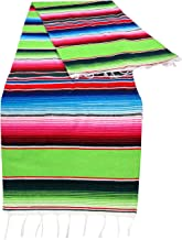 Threads West Genuine Mexican Table Runner Saltillo Serape Colorful Striped Sarape Made in Mexico Sold in Different Packs (1, Lime Green)