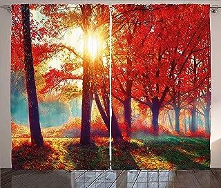 Ambesonne Tree Curtains, Autumnal Foggy Park Fall Nature Scenic Scenery Maple Trees Sunbeams Woods, Living Room Bedroom Window Drapes 2 Panel Set, 108