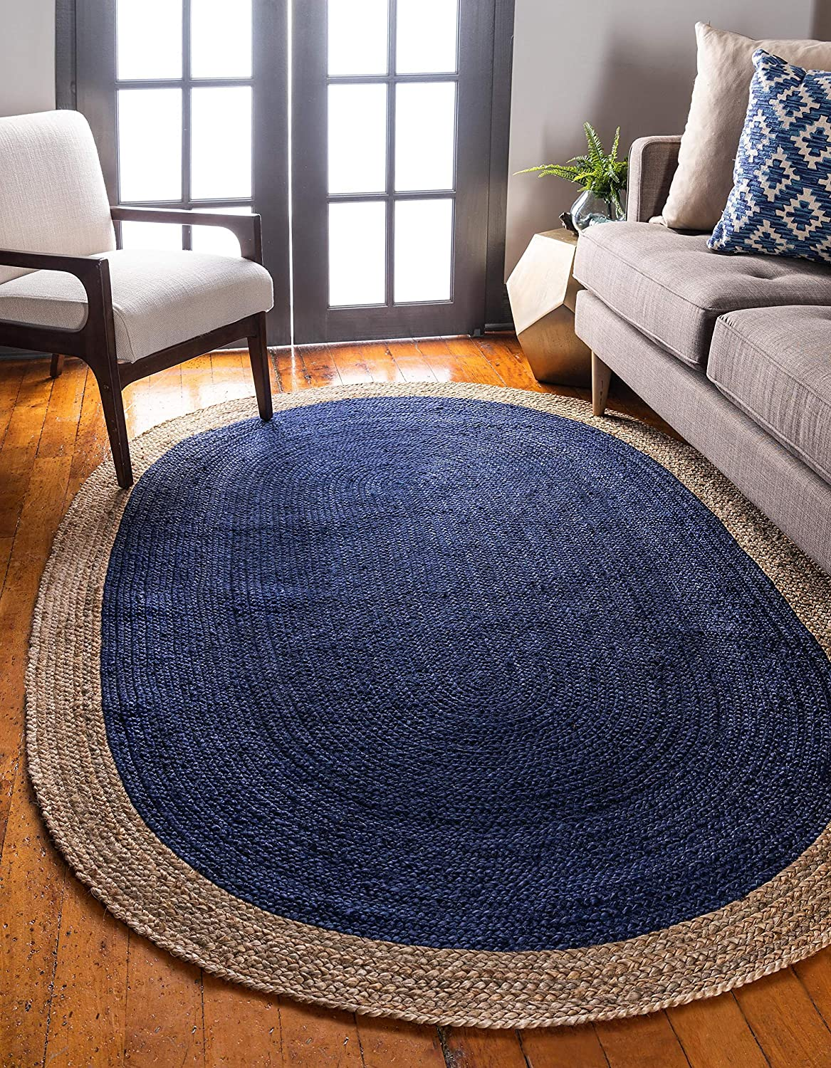 Unique Loom Braided Jute Collection Hand Woven Natural Fibers Navy bluee Oval Rug (3' x 5')