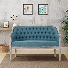 Christopher Knight Home Faye Tufted Loveseat, Blue/Antique