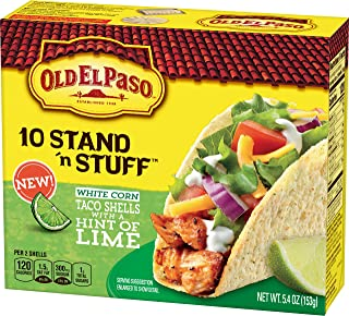Old El Paso White Corn Taco Shells with A Hint of Lime, (Pack of 6)