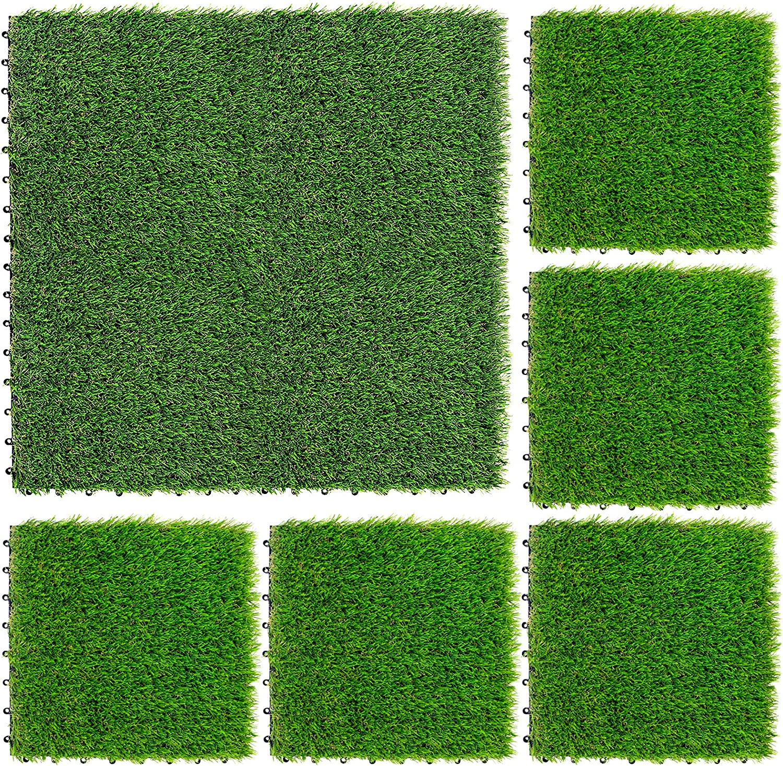 NQN 9 Pack Tucson Mall Artificial Grass wholesale Turf Self-draining Interlocking Tile