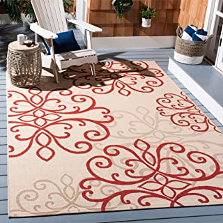 Safavieh Courtyard Collection CY6857-18 Cream and Red Indoor/ Outdoor Area Rug (6'7