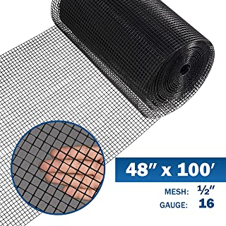 Fencer Wire 16 Gauge Black Vinyl Coated Welded Wire Mesh Size 0.5 inch by 0.5 inch (4 ft. x 100 ft.)