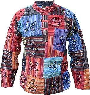 Camisa para hombre, tipo patchwork, estilo hippie, con símbolos estampados
