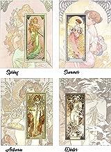 ArtDash® Brand Premium Art Nouveau Reproductions: THE FOUR SEASONS ~ Set of 4 Easy-to-Frame 8