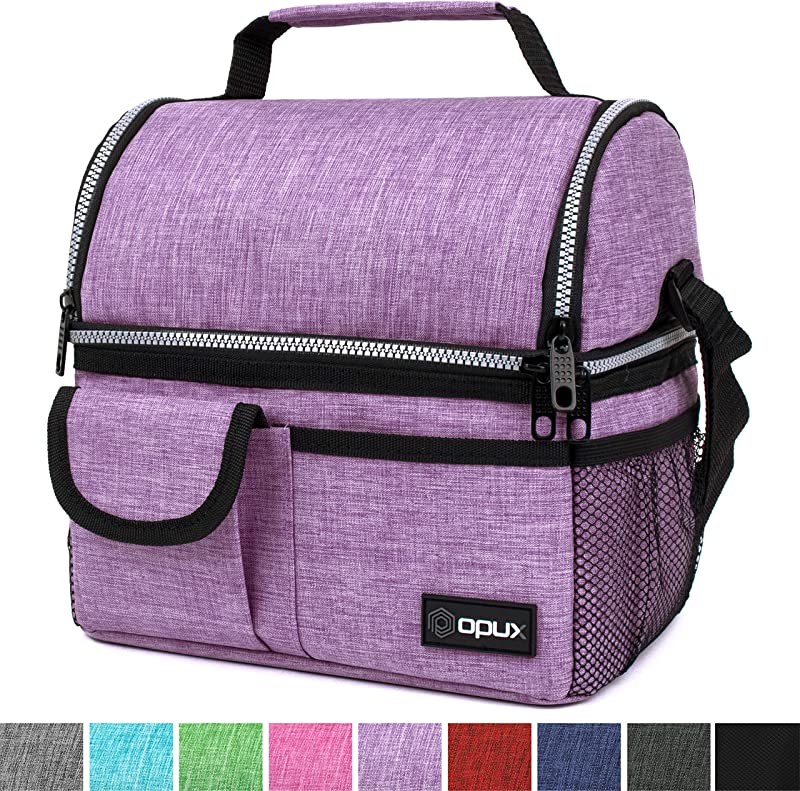 OPUX Insulated Dual Compartment Lunch Bag For Women Double Deck Reusable Lunch Pail Cooler Bag With Shoulder Strap Soft Leakproof Liner Large Lunch Box Tote For Work School Purple