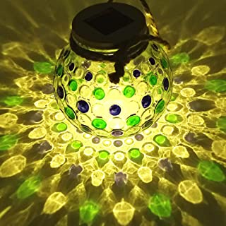 Solar Lantern Jar Lights Outdoor Table Light Glass Ball Table Lamp Mason Jars Blue Green Dot Decorations Hanging Tree Lights Bright High 20 Lumens LED Sogrand Garden Decor W/Rope for Gift Party Yard