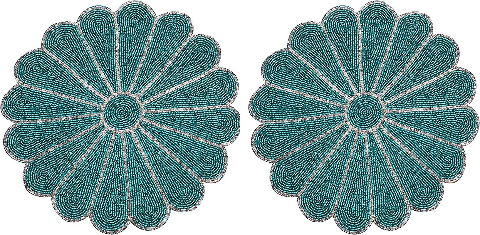 Farmhouse Handmade Round Beaded Placemat For Coffee Table Dining Table In Silver Teal Colour Pack Of 2 Measure 13 Inches For Gathering Thanksgiving Occasional Decoration And Family Celebrations