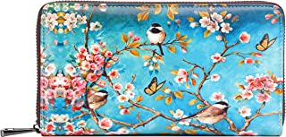 Wallets for Women Card Holder Zipper Purse Phone Clutch Wallet Painting Wristlet with Wrist Strap/Gift Box