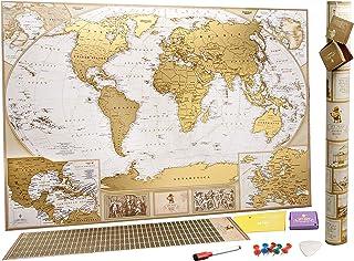 MyMap Grande Mappa del Mondo da Grattare - Edizione Deluxe - Con più di 10.000 Città e Luoghi da Grattare o Segnare con un...