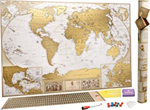 MyMap Antique Scratch Off map Large Gold World Map w/ EnLarge Europe and Caribbeans Map w USA States 35x25 inc Detailed Push Pin Travel Map Poster To Mark 10.000 Cities Anniversary Birthday Idea
