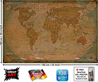 Poster – Historical World Map Poster XXL – Wall Picture Decoration Globe Antique Vintage World Map Used Atlas Map Old School Wallposter Photoposter Mural Decor (55 x 39,4 Inch/ 140 x 100cm)