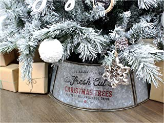 AuldHome Galvanized Metal Christmas Tree Collar, 30-Inch Diameter Base