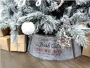 AuldHome Galvanized Metal Christmas Tree Collar, 30-Inch Diameter Base
