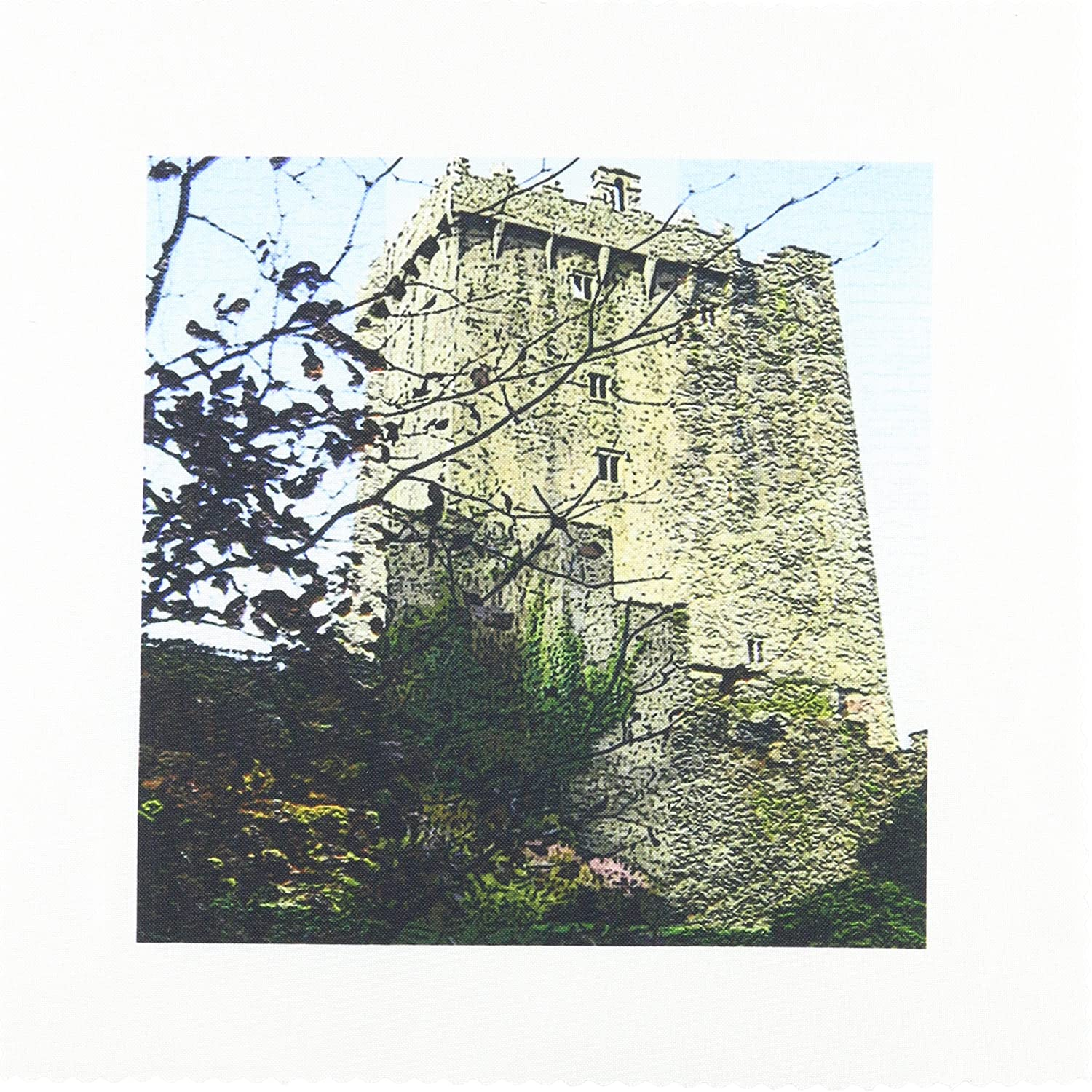 3dRose qs/_44119/_1 The Blarney Castle in Ireland with Trees in Front and Textured to Add Depth Quilt Square 10 by 10-Inch