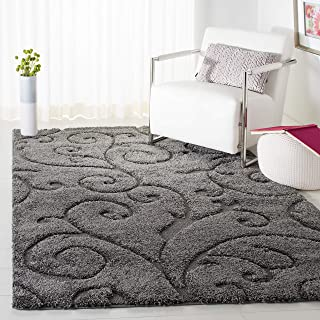 Safavieh Florida Shag Collection SG455-8013 Scrolling Vine Grey Graceful Swirl Area Rug (8' x 10')