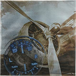 INK+IVY History of Aviation II Aeroplane Propeller Wall Canvas Art-Metallic Vintage Aircraft Engine Painting - 1 Piece Liv...