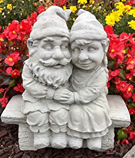 Whimsical Gnomeo and Juliet Gnome Statue Handmade in USA made of cast stone concrete great for indoor our outdoor 5 finishes painted stained or unpainted (Unpainted)