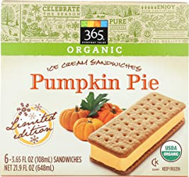 365 Everyday Value, Organic Pumpkin Pie Ice Cream Sandwiches, 6 ct, (Frozen)